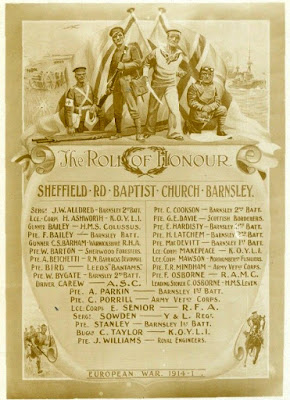 Sepia Roll of Honour for Sheffield Road Baptist