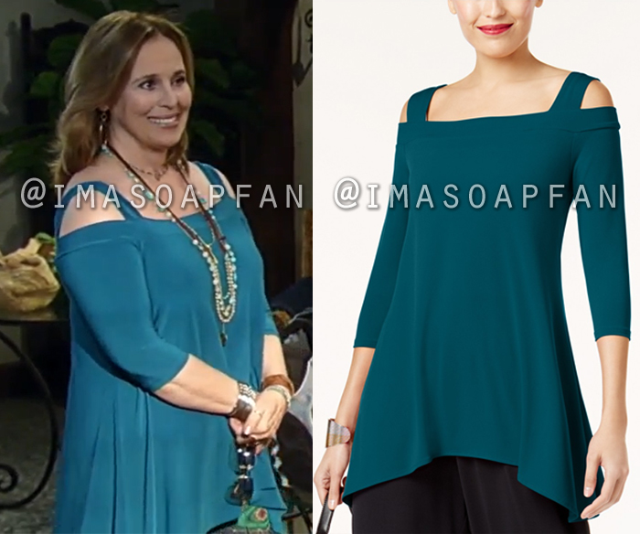 Laura Collins, Genie Francis, Teal Blue Cold Shoulder Tunic, General Hospital, GH