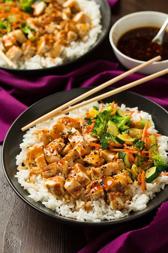 The Best Teriyaki Grilled Chicken and Veggie Rice Bowls