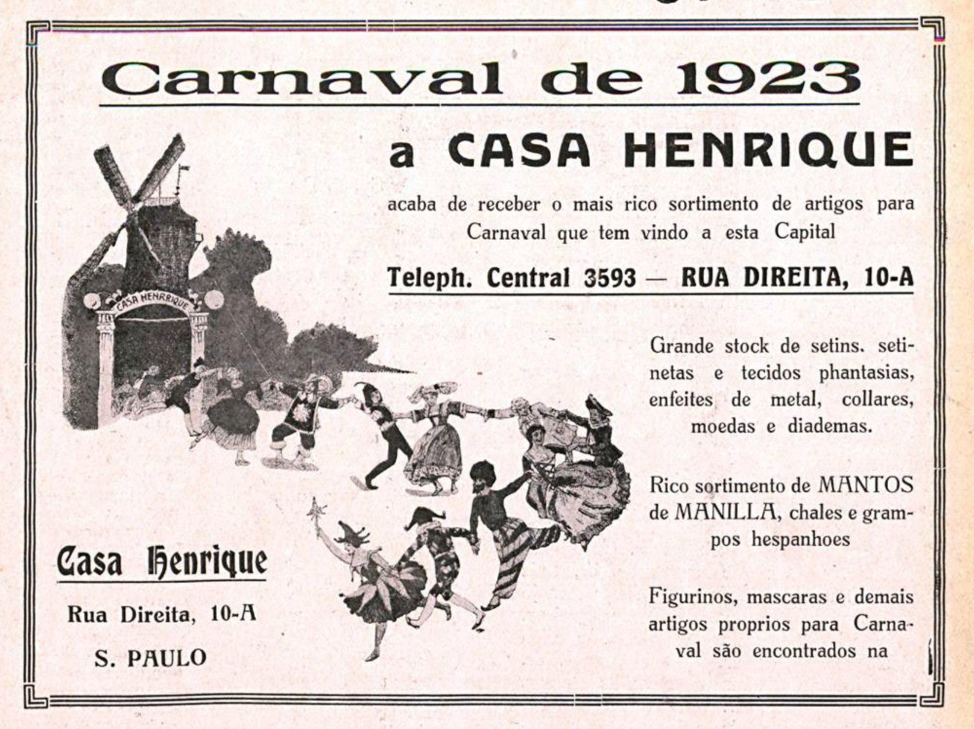 Anúncio da Casa Henrique com ofertas para o Carnaval de 1923