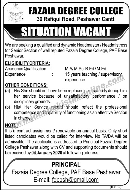 Teaching Jobs - Teaching Faculty Required At Fazaia Degree College
