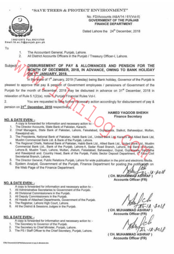 Notification Punjab Department Of Finance about Pay