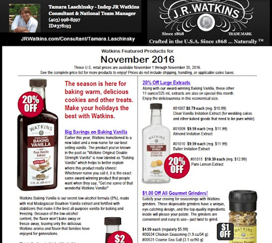 J R Watkins USA catalogue flyer monthly specials november 2016