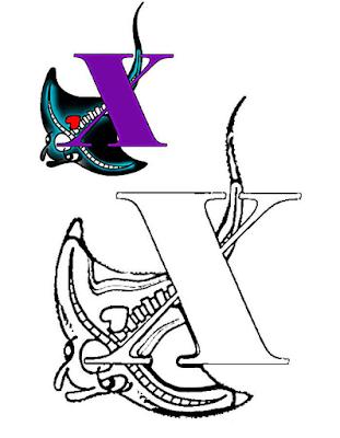 Mewarnai Alfabet Bahasa Inggris - X