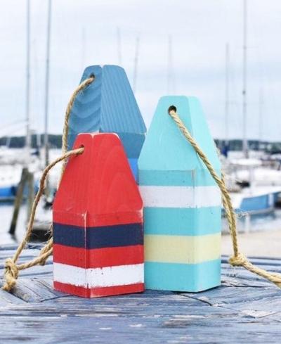 Decorative Pained Wood Buoys USA