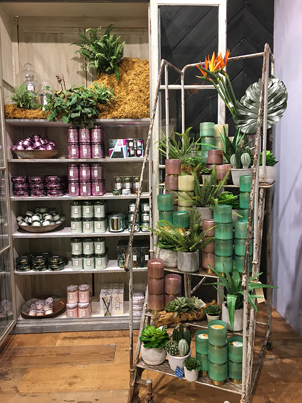 Candles and greenery display in Anthropologie in Portland, Oregon