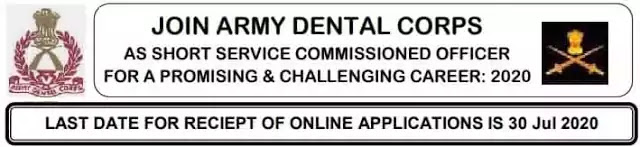 SSC Officer Army Dental Corps Entry Recruitment 2020