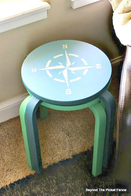 painted stool by Beyond the Picket Fence blog