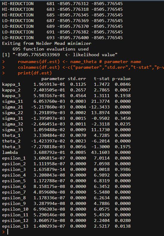 AFNS model estimation r code