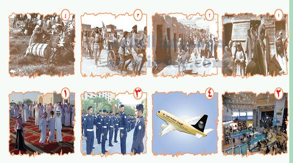 أتعاون مع مجموعتي ؛ لتنفيذ المهمات التالية : - نربط بين الصورة القديمة ، وما يناسبها من الصور الحديثة.