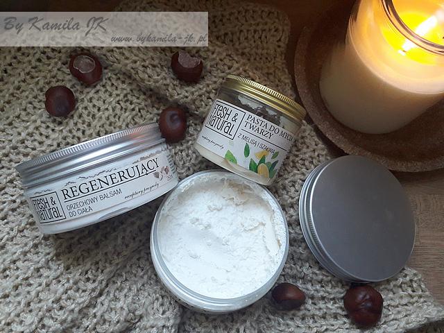 Fresh & Natural Kojący bezzapachowy i regenerujący orzechowy balsam do ciała Pasta do mycia twarzy