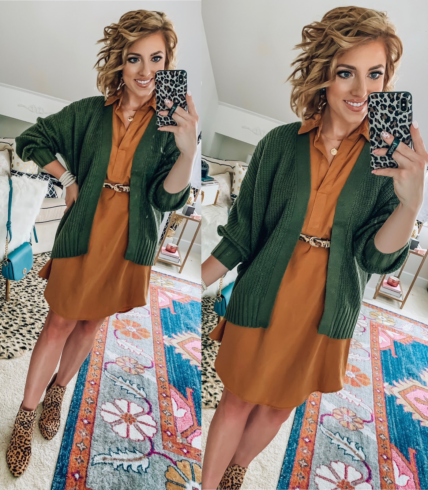 Target Fall Finds: Part One - Under $30 Utility Shirt Dress in Mustard + $20 Olive Cardigan - Something Delightful Blog