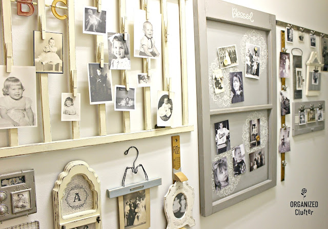 Upcycled Garage Sale Cabinet Door Photo Display #stencil #oldsignstencils #upcycle #repurpose #photodisplay #photodisplayideas