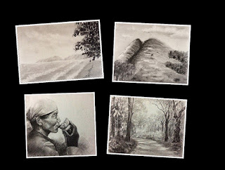 Charcoal drawings created by participants during an art workshop by Manju Panchal