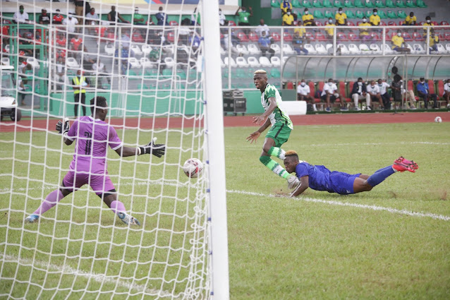 Super Eagles striker Victor Osimhen scores against Sierra Leone during a AFCON Qualifier match