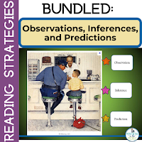 Cover of TeachersPayTeachers product showing Norman Rockwell illustration.  Product teaches how to infer and predict.
