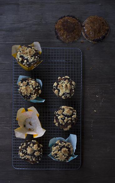 Kürbis-Mohn-Muffins mit Streuseln