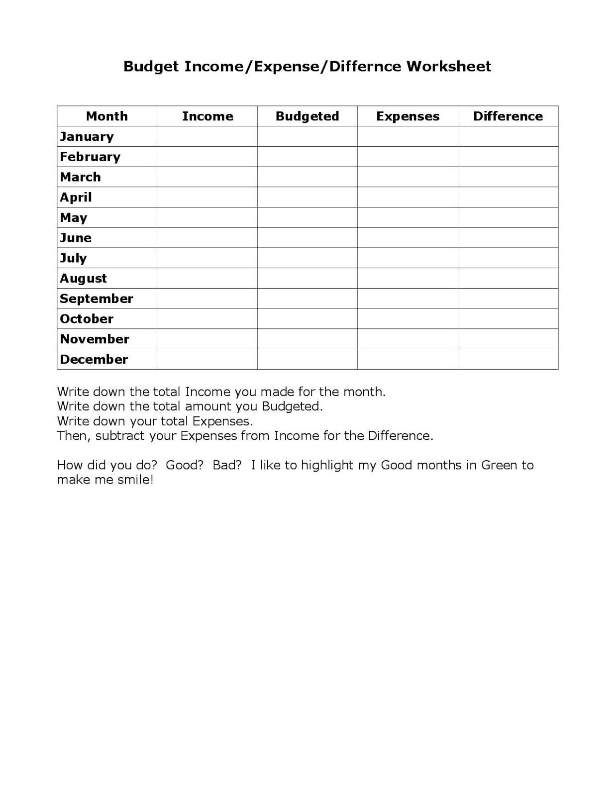 The Merrill Project Free Budgeting Worksheets