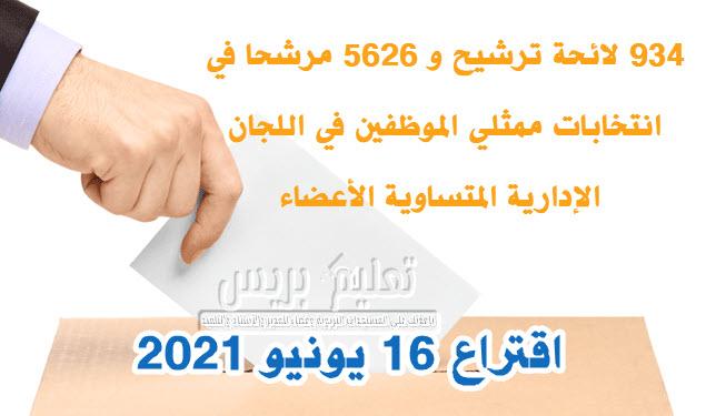 934 لائحة ترشيح و 5626 مرشحا في انتخابات ممثلي الموظفين في اللجان الإدارية المتساوية الأعضاء اقتراع 16 يونيو 2021