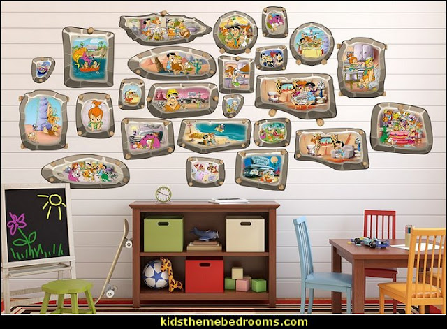 Flintstones Family Frames Wall Decals   dinosaur theme bedrooms - dinosaur decor dino - decorating bedrooms dinosaur theme - dinosaur room decor - dinosaur wall murals - dinosaur wall decals - life size dinosaur props - dinosaur bedding - dinosaur duvet - Flintstones dinosaur design bedrooms