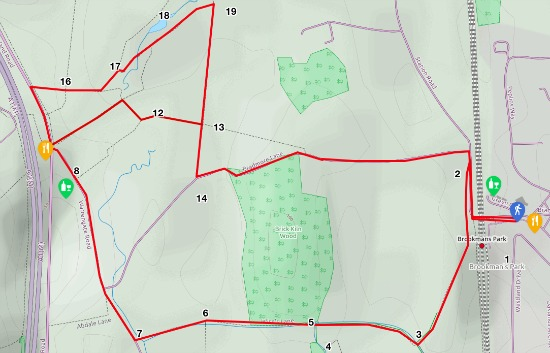 Map for walk 3, The Water End Loop, created by David Brewer, map elements copyright MapHub and Thunderforest