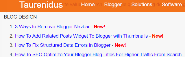 Preview Image of Created Sitemap Page for Blogger