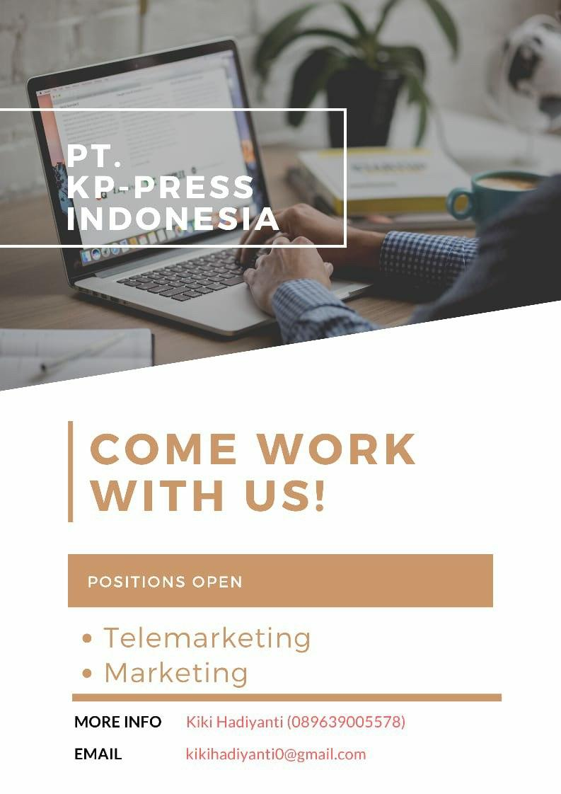 Lowongan Kerja Telemarketing & Marketing PT. KP-Press Indonesia Bandung Oktober 2020