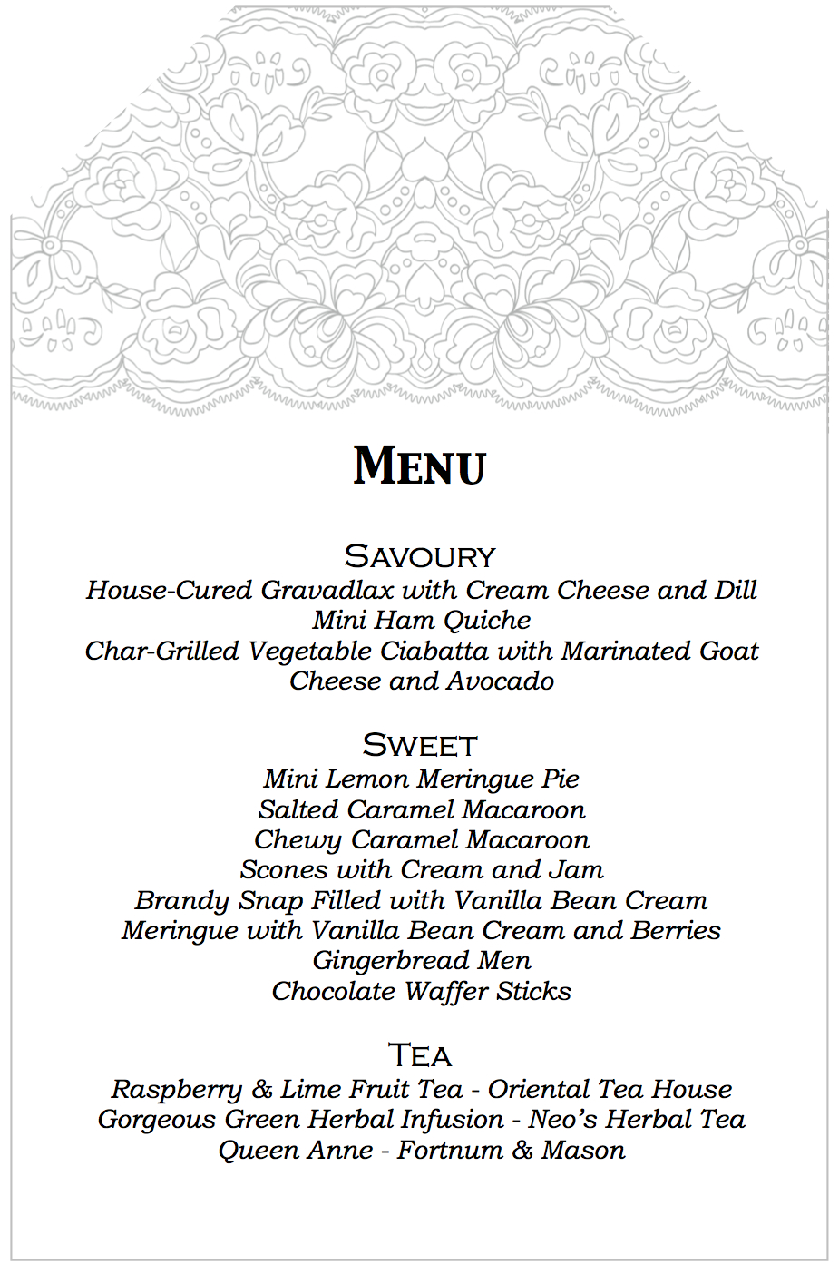 Aussie mum high tea birthday for Tea party menu template