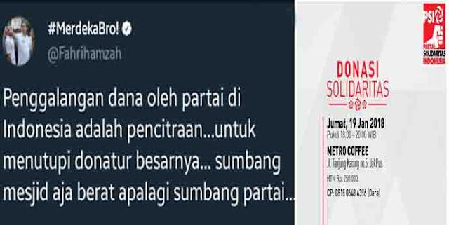 Sindir PSI, Fahri: Penggalangan Dana Oleh Parpol Adalah Pencitraan Untuk Menutupi Donatur Besarnya