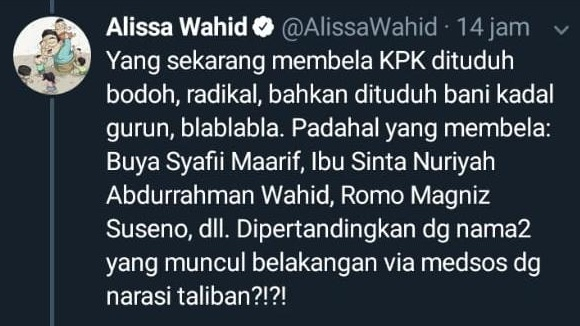 Putri Gus Dur Jengkel Buzzer Rezim Tuding Pembela KPK dengan Label 'Radikal', Kena Karma?