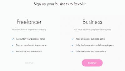 Revolut Business - wybór konta
