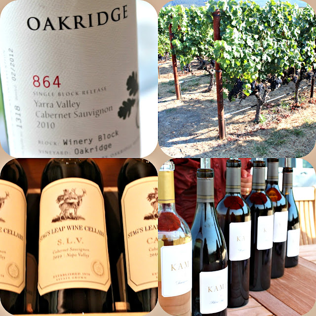 Wines from Australia like 864 and California like Stag's Leap and Kamen Estates
