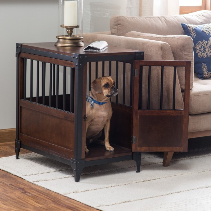 Dog Crate Furniture Placed In Living Room Best Wooden Dog Crate