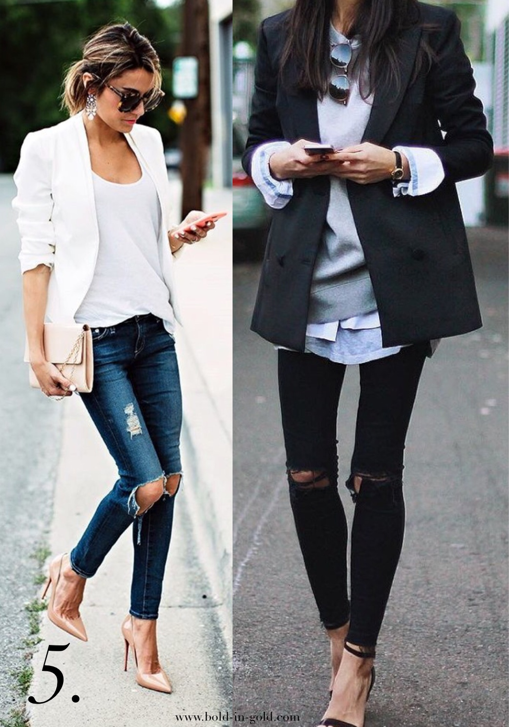 Photo of two women wearing classic blazers with ripped jeans