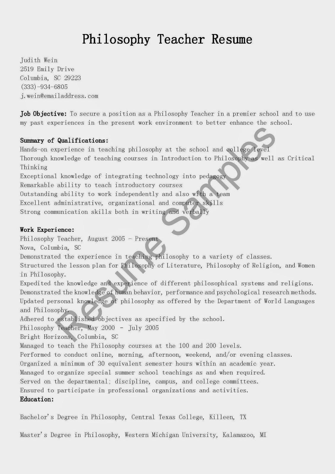resume samples  philosophy teacher resume sample