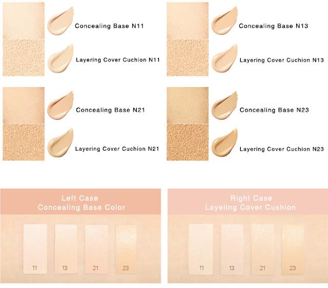 Các màu của Laneige Layering Cover Cushion & Concealing Base
