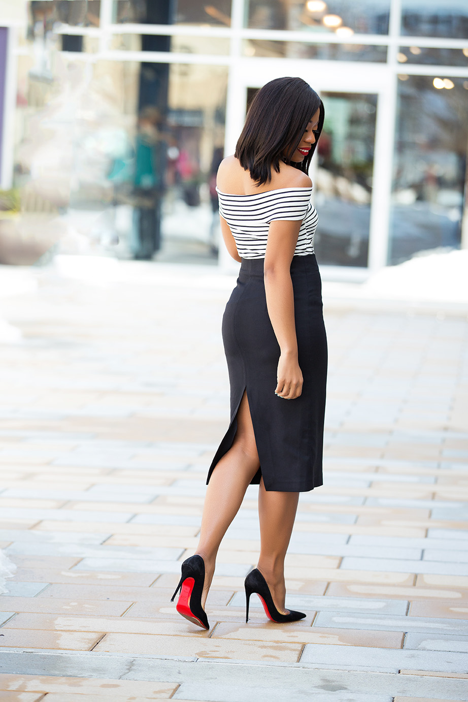 Cold shoulder striped top and pencil skirt, www.jadore-fashion.com