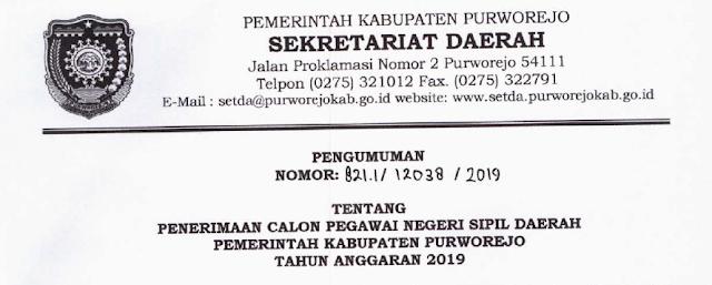Pengumuman 329 Formasi CPNS Kabupaten Purworejo 2019