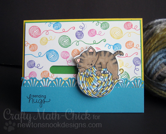 Sending Hugs Kitty Spinner Card by Crafty Math-Chick | Newton Unwinds Stamp set by Newton's Nook Designs #newtonsnook