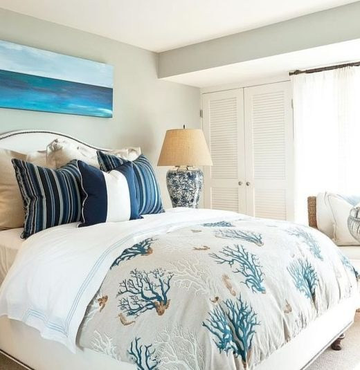 Coastal Bedroom Design with Coral Reef Bedding in Blue Gray