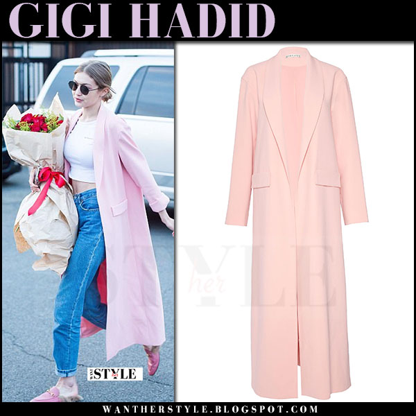Gigi Hadid in pink alice olivia angela coat and pink leather shoes gucci what she wore april 23 2017