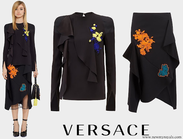 Queen Rania wore Versace Embroidered Florage Ruffle Blouses and Top