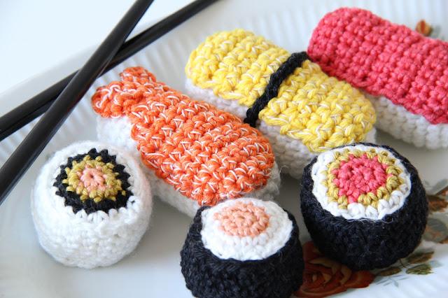 Studio Mojo, haken, Gehaakt/ crochet, Sweet crochet, tendre crochet, speeleten, gehaakte sushi, sushi