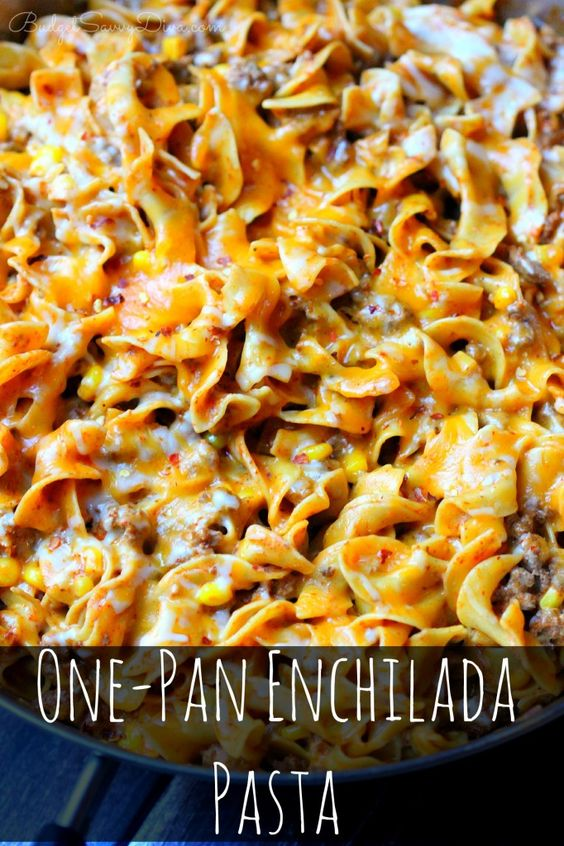 ONE-PAN ENCHILADA PASTA RECIPE #onepan #enchilada #pasta #pastarecipes #easypastarecipes