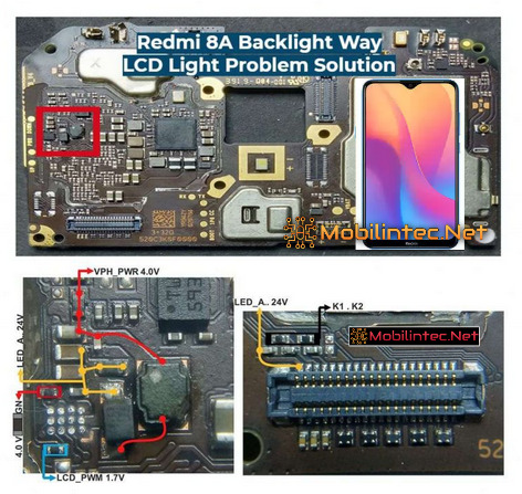 Step Repair Android Xiaomi Redmi 8A No Backlight