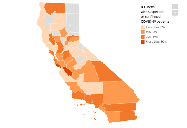See where hospital ICU beds in California are filling up fastest with COVID-19 patients