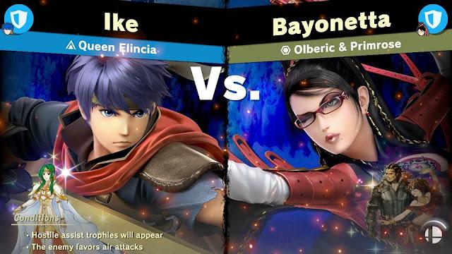 Olberic & Primrose Spirit Battle description vs. screen Super Smash Bros. Ultimate