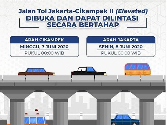 Jalan Tol Jakarta-Cikampek II Elevated Kembali Dibuka
