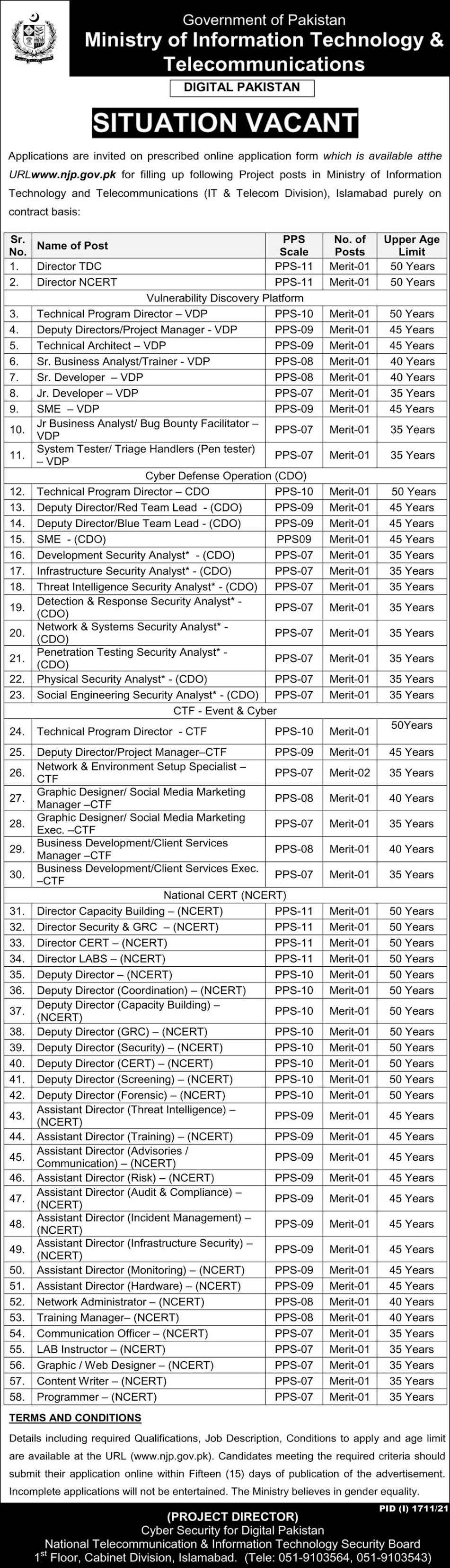 Ministry Of Information Technology Telecommunication Jobs 2021