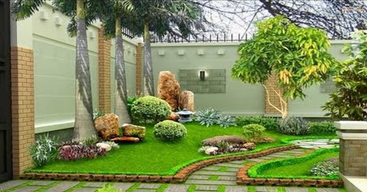 cách thiết kế sân vườn kết hợp các loại gạch với nhau